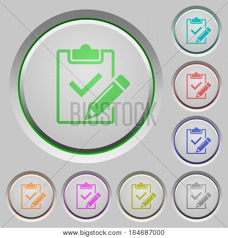 Fill out checklist color icons on sunk push buttons
