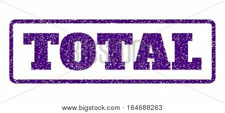 Indigo Blue rubber seal stamp with Total text. Vector message inside rounded rectangular frame. Grunge design and unclean texture for watermark labels. Horisontal emblem on a white background.