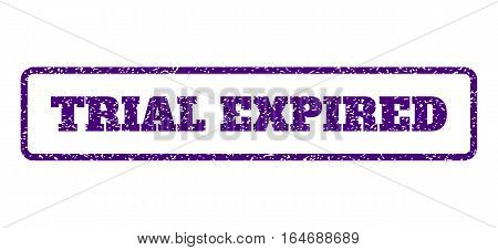 Indigo Blue rubber seal stamp with Trial Expired text. Vector caption inside rounded rectangular banner. Grunge design and unclean texture for watermark labels. Horisontal sign on a white background.