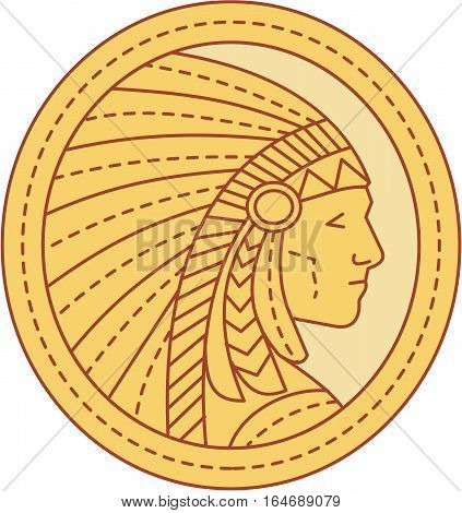 Mono line style illustration of a native american indian chief wearing feather headdress viewed from the side set inside circle.