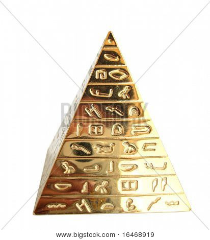 Golden pyramid with hieroglyphs on a white background