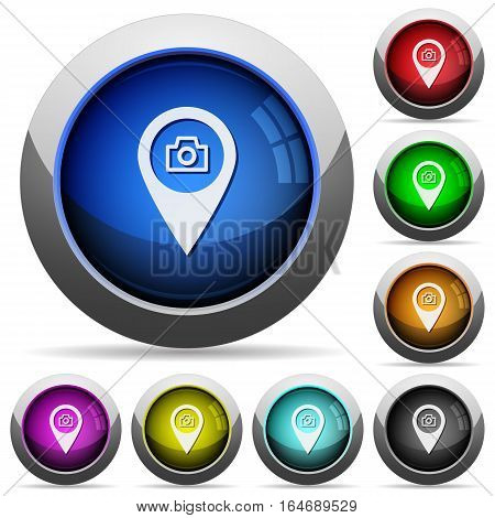 GPS map location snapshot icons in round glossy buttons with steel frames