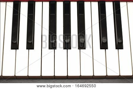 Black and white piano keys front view extreme closeup