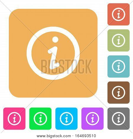 Information flat icons on rounded square vivid color backgrounds.