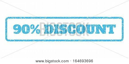 Light Blue rubber seal stamp with 90 Percent Discount text. Vector message inside rounded rectangular frame. Grunge design and dust texture for watermark labels.