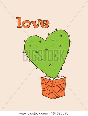 Isolated doodle cactus in the pot and word Love for Valentine greeting card invitation save date wedding holiday. Print for decorate t-shirt tunic bag home dishes. eps 10.