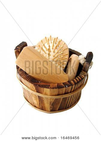 washtub with bath items, comb, mirror and brush