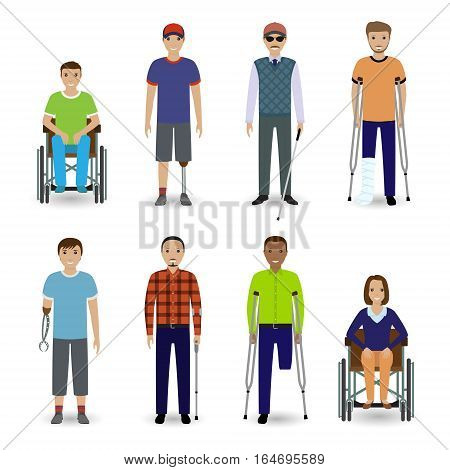 Invalid people concept. Group of eight different kind disability people. Flat style vector illustration.