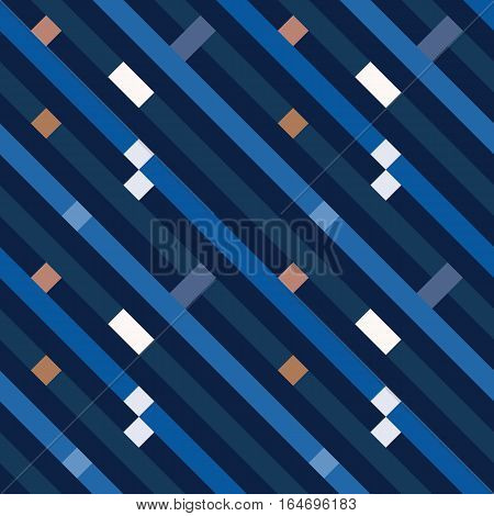 Seamless geometric stripy pattern. Texture of diagonal strips, lines. Rectangles on blue, gray striped background. Vector