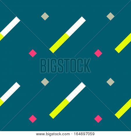 Seamless geometric stripy pattern. Texture of diagonal strips. White, yellow, pink rectangles and squares on blue background. Baby, children colored. Vector