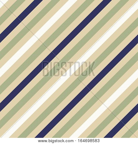 Seamless geometric pattern. Stripy texture for neck tie. Diagonal soft, contrast strips on background. Olive, cream, white and dark blue colors. Vector