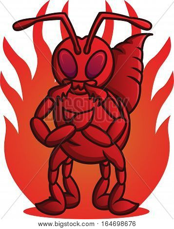 Cartoon illustration of the wild fire ant. Vector character.