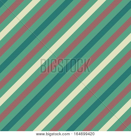 Seamless geometric pattern. Stripy texture for neck tie. Diagonal contrast strips on background. Turquoise, rosybrown, white, soft colors. Vector