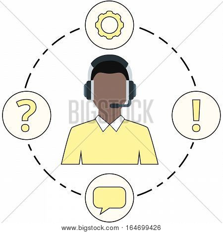 Supporter Yellow - service icons and headset