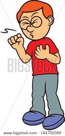 Sick Man Coughing Cartoon Character. Vector illustration.