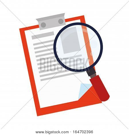 clipboard with magnifying glass vector illustration design