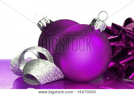 purple Christmas balls with ribbon