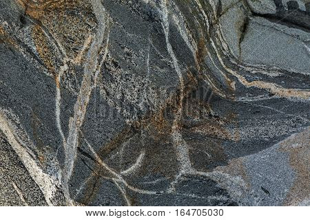 Texture of the stone cliffs. Beautiful winter landscape in the Lake Baikal.