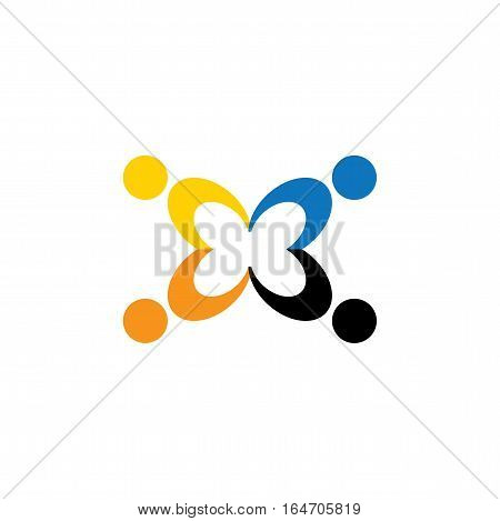 Vector Icon Of People Together - Sign Of Unity, Partnership.