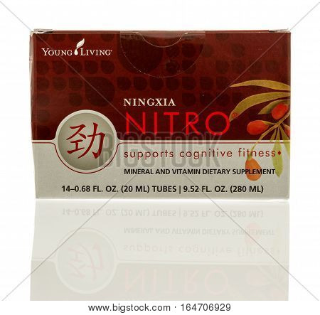 Winneconne WI - 1 January 2017: Box of Young Living Ningia Nitro on an isolated background.