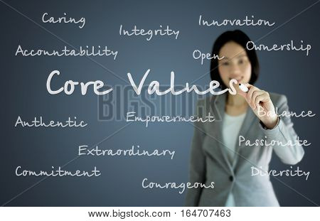 businesswoman with pen writing on the screen.Core values