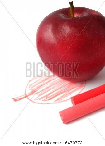 Picture of apple painted with red chalk