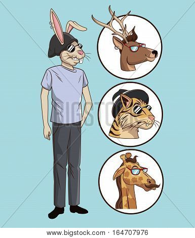 hipster style casual dressed with icons animals vector illustration eps 10