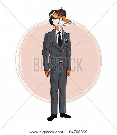 hipster fox monocle hat gray suit tie elegant vector illustration eps 10