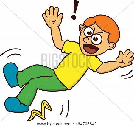 Man Slipping on Banana Peel Cartoon Character