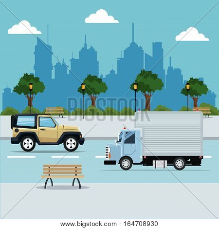 vehicles street city with park background vector illustration eps 10