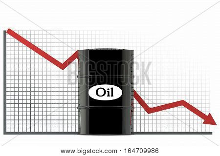 oil barrels and a financial chart on white background. price oil down. business concept. 3d rendering