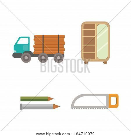 Timber industry occupation icons set in flat style. Lumberjack equipment collection vector illustration. Construction and woodworking carpentry equipment.