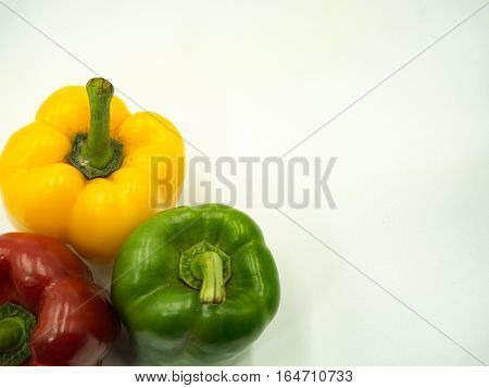 Paprika on white background sweet pepper bell pepper Top view copy space