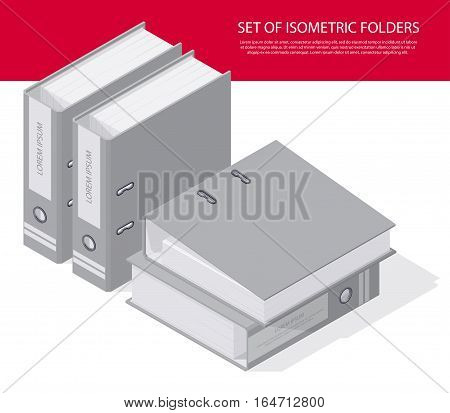 Set of folders paper storage boxes and a detailed isometric set vector graphic illustration