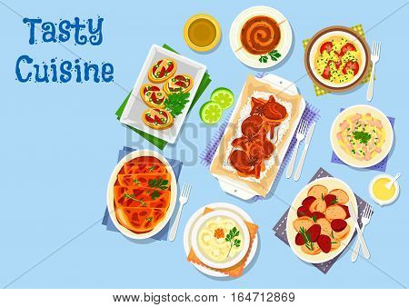 Potato dishes for dinner icon of potato stuffed with bacon, cheese, egg salad with squid and sausage, chicken lasagna, potato sausage, pork with mushroom and rice, potato tomato casserole, lamb stew