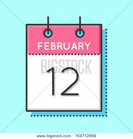 Vector Calendar Icon. Flat and thin line vector illustration. Calendar sheet on light blue background. February 12 th. Chinese new year. Abraham Lincoln birthday