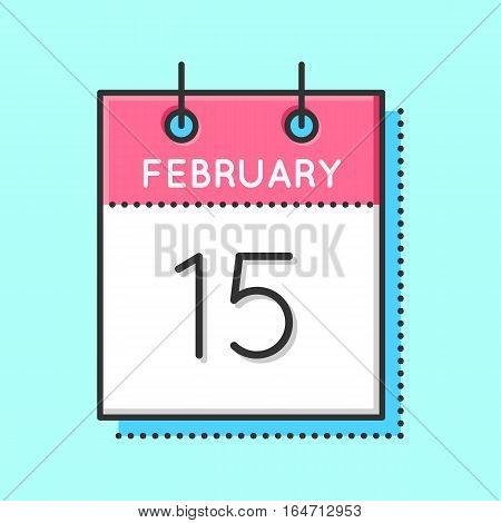 Vector Calendar Icon. Flat and thin line vector calendar sheet on light blue background. February 15th. Chinese new year. Childhood Cancer day. Presidents day. National Flag of Canada day