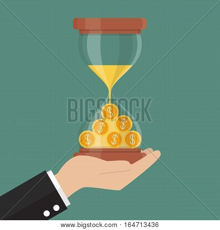 Time is money. Money in sandglass. Vector illustration