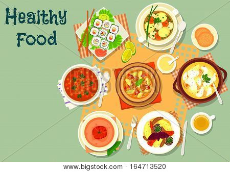 Lunch with soup and sushi icon of sushi roll with salmon and cucumber, chicken cream soup, meatball soup, eggplant lamb stew, fish ball soup, vegetarian soups with tomato and lentil. Food theme design