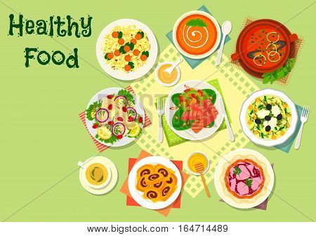 Meat and fish salads with tomato soup icon of fish vegetable salad, chicken mushroom salad, seafood tomato soup, vegetable cheese salad, tomato bean soup, herring apple and tuna pepper salad, fig roll