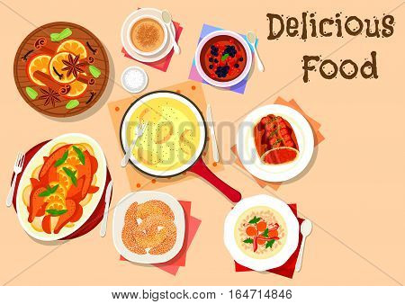 Winter holidays dinner dishes icon with baked duck with honey and oranges, beef with mushroom and bacon, melted cheese with potato, chocolate mousse with berry, barley bacon soup and vanilla cookie