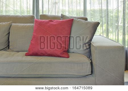 Red Velvet Pillow With Gray Color Couch And Pillows