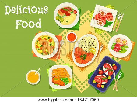 Dinner dishes with bacon snacks icon of chicken soup, bacon rolls with chicken, sausage, cream cheese and asparagus, battered fish with fries, stewed fish with rice, fried fish with basil sauce
