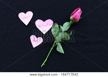 happy valentine day words message in heart and rose on background black