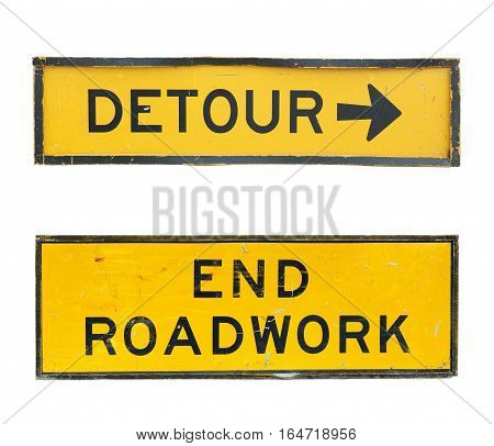 set of old detour traffic end roadwork signs with scratch and dirty isolated on a white background