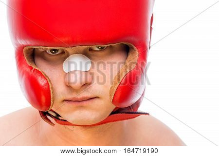 Close-up Boxer's Face In Red Helmet Isolated