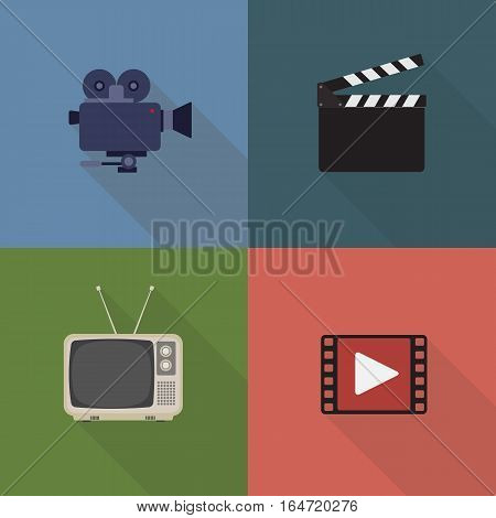 Movie and film icons set. Flat style design. Cinema Recorder, Clapperboard, Retro Television, Film Icon