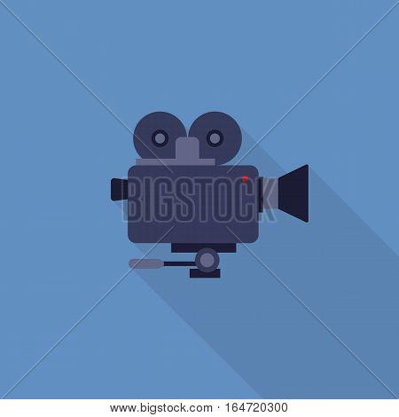Flat Design of Video Camera, Camera Recorder vector illustration