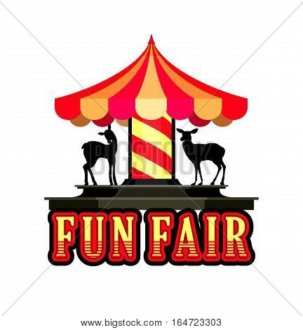 vector illustration cheerful childrens carousel of fun fairs and carnivals isolated on white background