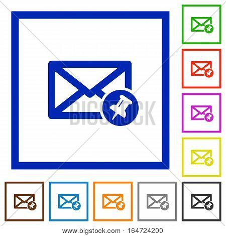 Pin mail flat color icons in square frames on white background